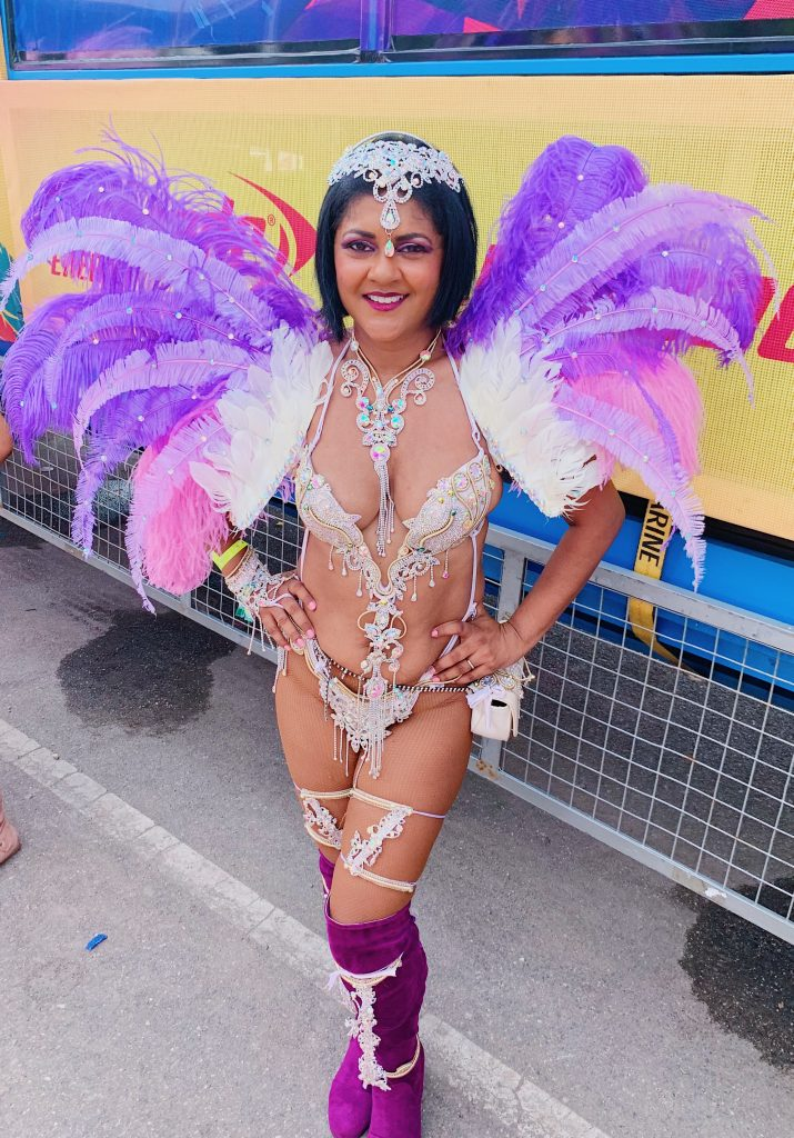 Trinidad Carnival Bliss Experience, Jasmine section, Chandra maharaja, Carnivalista, carnival kicks, Playing Mas in Trinidad
