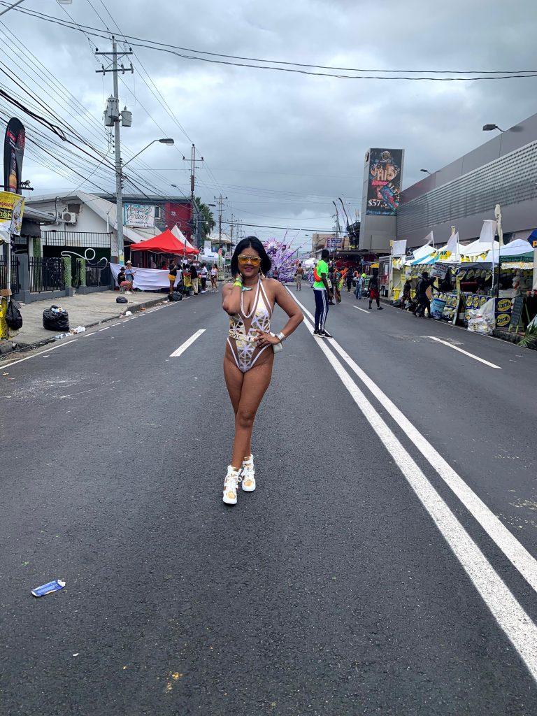 Trinidad Carnival 2020 Monday wear SJV designs,  Carnivalista tights, JustFab wedge sneakers