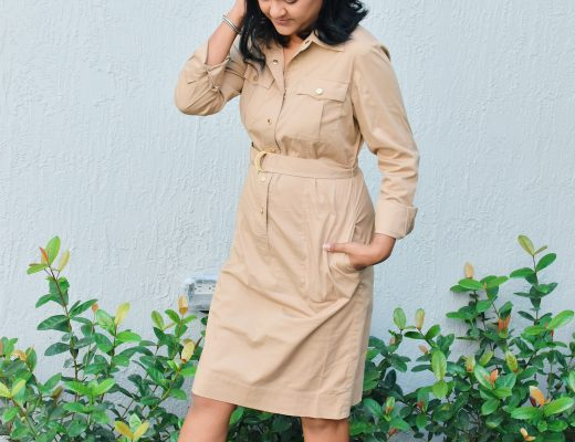 Ralph Lauren camel shirt dress and camel open toe booties