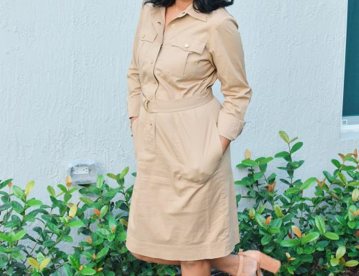 woman in camel shirt dress and camel wedges